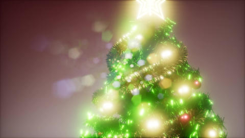 Joyful studio shot of a Christmas tree with colorful lights Live Action