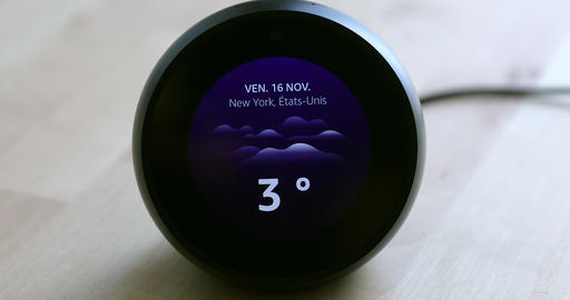 Amazon Echo Spot Showing The Weather Forecast Temperature Of New York NY On Live Action