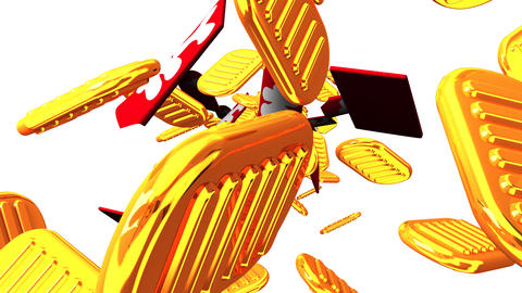 Oval gold coins and bags on white background CG動画