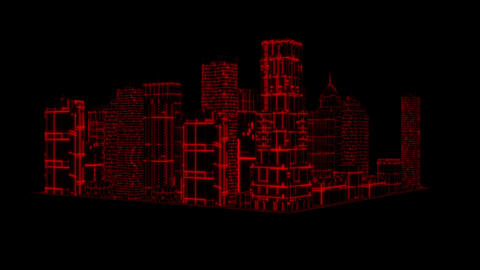 3D Red Tron Hologram City Loopable Motion Graphic Element Animation