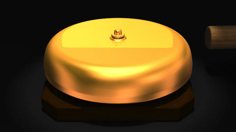 Spotlighted repeating boxing bell on black background Animation