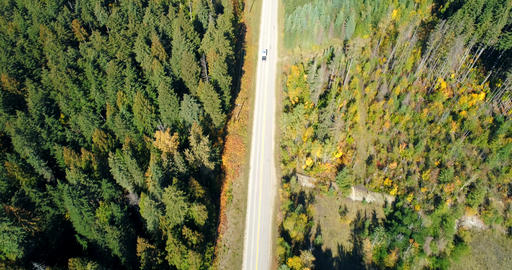 Aerial view of vehicle moving on road at countryside 4k Live Action