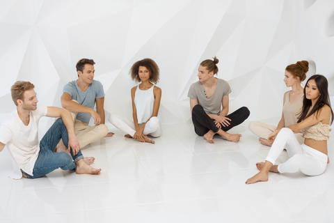 Groups of different people sitting and talking together. Social concept Photo