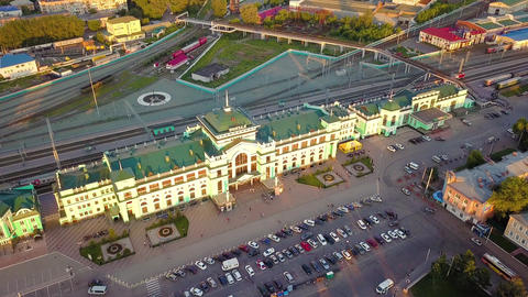 The central railway station of the city of Omsk. The building of the station. Footage