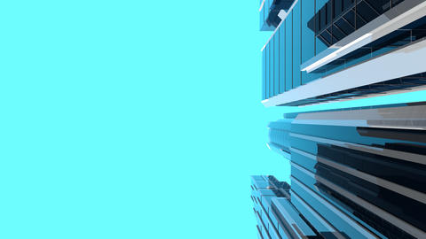 Animation of modern skyscrapers - vertical composition Animation