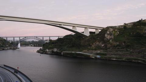 Porto, Portugal 3 bridges over Douro river 4K evening to night time lapse ビデオ