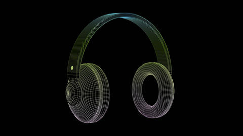 3D wire-frame model of big headphones Animation