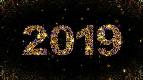 Gold Ornate 2019 New Year Animation GIF