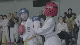 The Taekwondo competition in children . Slow motion Footage