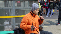 Blind Taiwanese busker playing Chinese violin Footage