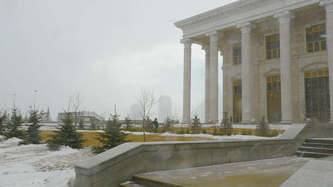 Snowstorm In Astana stock footage