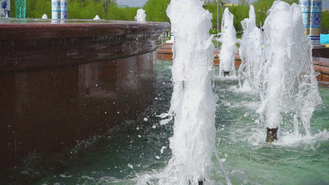 Jets of a fountain slow motion Footage