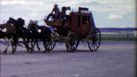 1959: Western stage coach ride rural countryside cowboy driver Footage
