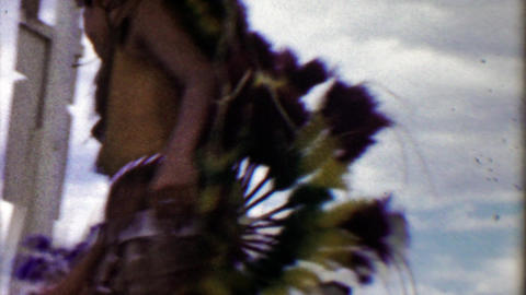 1959: Native American decorated tribal teenage boy dancers spinning Footage