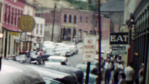 1959: Mainstreet restaurant casinos of old gold mining town Footage