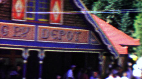 1959: Cog railroad depot crowds buying tickets classic cars parked Footage