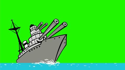 Cartoon Battleship Firing Big Guns Drawing 2D Animation Animation