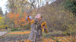 Girl throws autumnal leaves up. Slow motion. Autumnal park in the background ビデオ