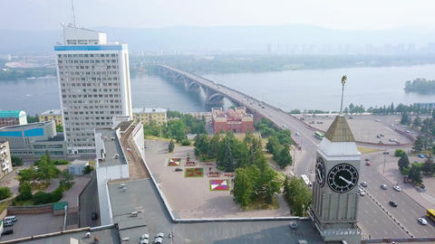 The city clock. Communal bridge, the city administration. Panorama of the city Footage