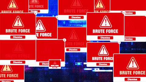 Brute Force Alert Warning Error Pop-up Notification Box On Screen Live Action