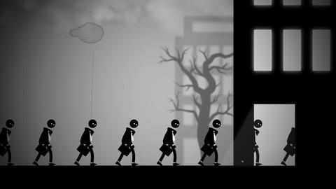 Animation of depressed white-collar workers marching to their daily office jobs GIF
