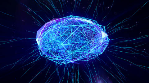 Polygonal brain shape with glowing lines and dots CG動画素材