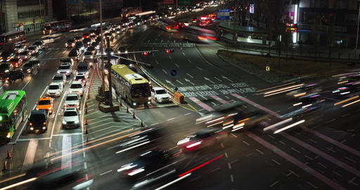 Night Traffic Timelapse at Intersection