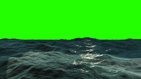 Ocean Waves on a Green Screen Stock Video Footage