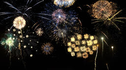 Brightly colorful fireworks for events celebration on black Animation