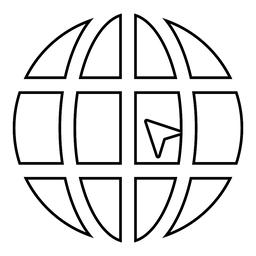 World with arrow world click concept website icon black color illustration ベクター