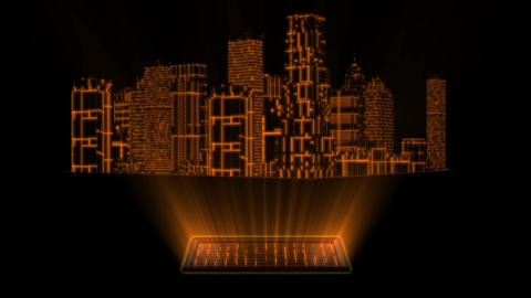 3D Gold Tron Hologram City With Screen Loopable Element Animation