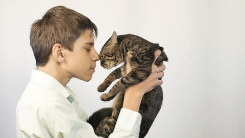 The boy embraces and kisses his kitten. Happy childhood Live Action
