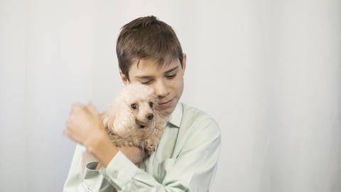 The boy is hugging his beloved dog. Happy childhood Footage