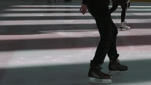 People Skate On Skating Rink Archivo