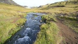 Hveragerdi Hot Springs river creek stream in Reykjadalur, Iceland, steam Footage