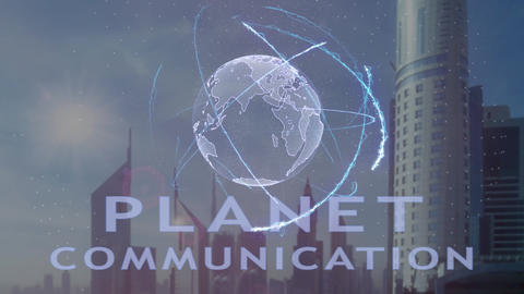 Planet communication text with 3d hologram of the planet Earth against the Live Action