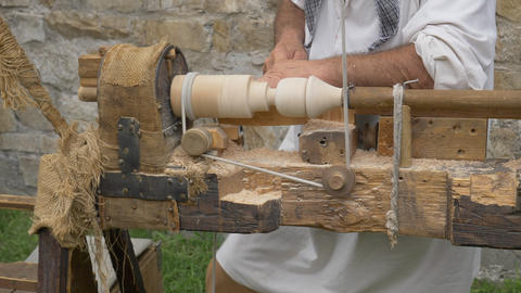 Ancient Wood Turner Day Footage