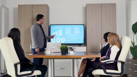 Adult businessman presenting company data on big screen TV Footage