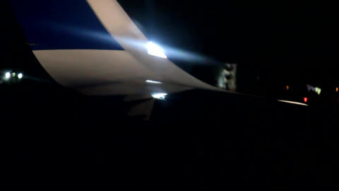 Strobe lights, warning lights on the wing tips of the aircraft Footage