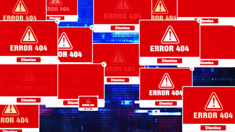 Error 404 Alert Warning Error Pop-up Notification Box On Screen Live Action