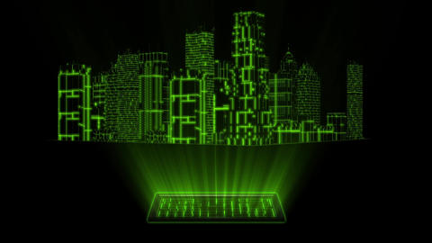 3D Green Tron Hologram City With Screen Loopable Element 애니메이션