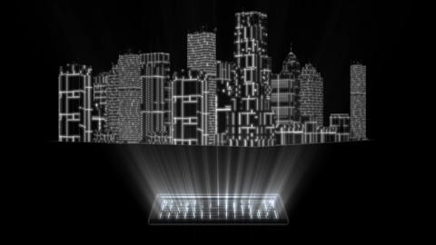 3D White Tron Hologram City With Screen Loopable Element Animation