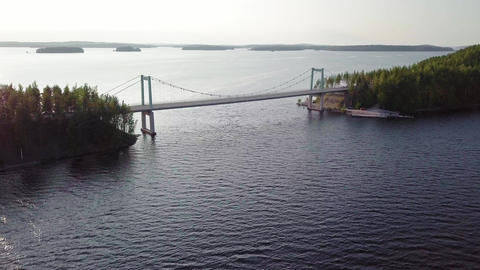 Cable bridge flyover in Paijanne, Finland Footage