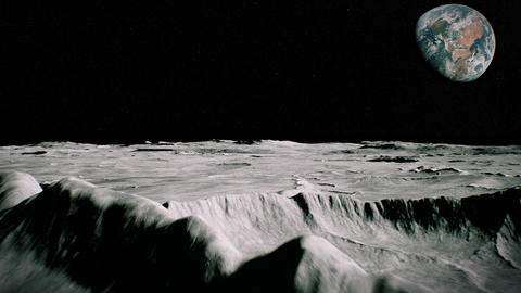 Surface of the Moon landscape. Flying over the Moon surface. Close up view Animation