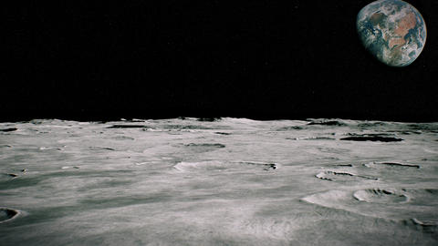 [alt video] Surface of the Moon landscape. Flying over the Moon...
