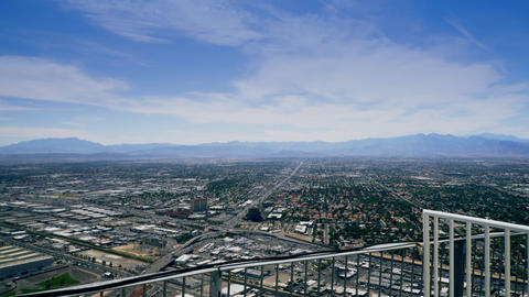 overlooking Las Vegas from the top of the stratosphere hotel 4k Live Action