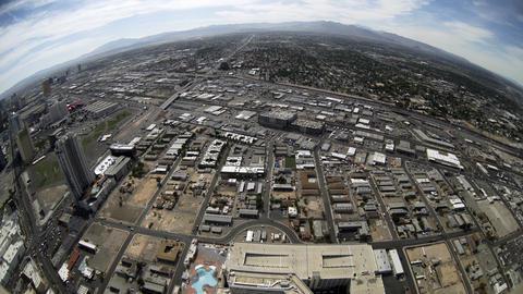 fisheye view of Las Vegas strip and surrounding area 4k Footage