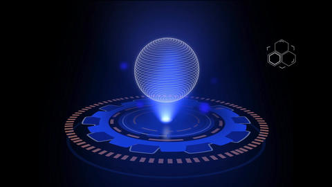 Science fiction moving hologram sphere HUD design element After Effects Template