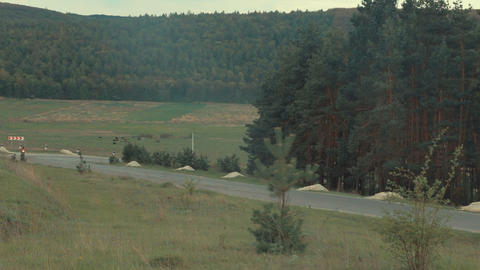 Landscape Panorama. the Road Down Footage