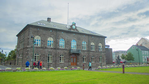 Reykjavik, Iceland- Parliament (Althing) in the Rain Footage
